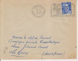 1953 France 06 Alpes Maritimes Cannes Flamme 'Cannes Charme Mediterraneen' - Postmark Collection (Covers)