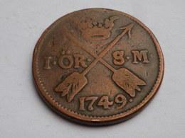 Suede  1 Ore 1749 Sm    Km# 416.1     Frederick      TB  + - Suède