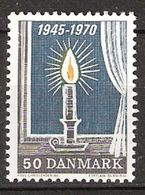 Denmark 1970 25th Anniversary Of The Liberation, Burning Candle In The Window   Mi 494 MNH(**) - Dänemark