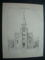 ARCHITECTURE..GRAVURE De 1898.. EGLISE DU TEIL (07)...Architecte M. BAUSSAN - Architecture