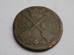 Suede  1 Ore 1744  Sm    Km# 416.1    Frederick     TB+ - Suède