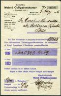 1915 Sweden Malmo Bankaffaren Obligationskontor - Invoices & Commercial Documents