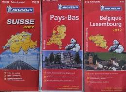 Carte Routière Michelin Europe - Lot De 3 Cartes N° 715, 716, 729: Belgique, Luxembourg, Pays-Bas, Suisse - Cartes Routières