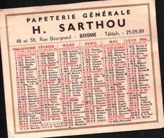 CALENDRIERS 1966 Papeterie Générale H.SARTHOU à BAYONNE - Calendars