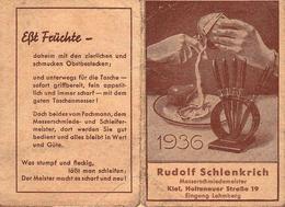 Calendrier Publicitaire Pour Les Couteaux Rudolf Schlenkrich En 1936 - Kiel - EBT FRÜCHTE - Calendriers