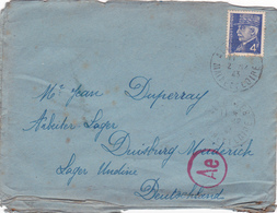 Enveloppe Seule ALLEMAGNE Duisburg 02-12-1943 PETAIN 3° Reich WW2 - Duperray Allones Maine Et Loire  Cachet Ae - Allemagne