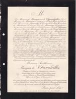 PARIS Sosthenes Marquis De CHANALEILLES 86 Ans 1893 Page Du Roi Louis XVIII Conseil Général De L'ARDECHE De CARAMAN - Décès