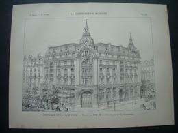 ARCHITECTURE..GRAVURE De 1898.. PARIS (75) IMMEUBLE De La NEW YORK...Projet De MM. MORIN-GOUSTIAUX Et LE CARDONNEL - Architecture