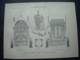 ARCHITECTURE..GRAVURE De 1898.. CHAPELLE FUNERAIRE à EPINAL (88)...Architecte M. MOUGENOT - Architecture