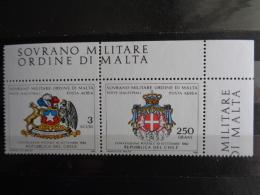 S.M.O.M 1982 UNIFICATO N° A 1 & A 2 ** - POSTA AERA, - Malte (Ordre De)