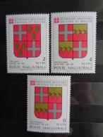 S.M.O.M 1983 UNIFICATO N° 219 à 221 ** - STEMMI DEI GRANDI MAESTRI - Malte (Ordre De)