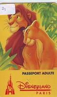 Disney PASSE-PARTOUT * LION KING * Passeport Entreecard FRANCE * PARIS * EURODISNEYLAND (21) PASSPORT * PASS - Disney