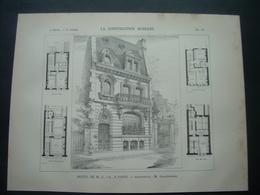 ARCHITECTURE..GRAVURE De 1898.. HOTEL De M. C. D'A., à PARIS (75)... Archiecte M.GRANDPIERRE - Architecture