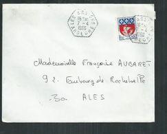 """Ardèche. Enveloppe Postée De """"Les Assions"""" Cachet Hexagonal Pointillé Pour Alès ( Gard) - Marcophilie (Lettres)"""