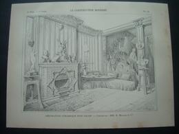 ARCHITECTURE..GRAVURE De 1898.. DECORATION CERAMIQUE D'un SALON.. Céramistes MM. E. MÜLLER Et Cie - Architecture
