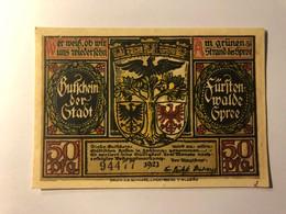 Allemagne Notgeld Fusten Walde 50 Pfennig - [ 3] 1918-1933 : République De Weimar