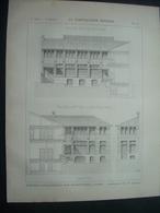 ARCHITECTURE..GRAVURE De 1898.. ATELIERS D'ELECTRICITE, Rue Desrenaudes à PARIS (75).. Architecte M. R. SERGENT - Architecture