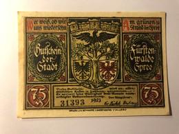 Allemagne Notgeld Fusten Walde 75 Pfennig - [ 3] 1918-1933 : République De Weimar