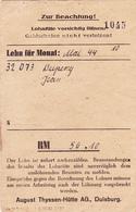 SALAIRE Prisonnier ALLEMAGNE Duisburg Lager Mai 1944 - 3° Reich WW2 Duperray Jean (Matricule 32073) Né En 1922 - Allemagne