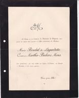 Eglise D'AUBIAT Marie BOUDAL De LAGARDETTE Comtesse MARTHA-BECKER De MONS De BONNEVIE 19e Siècle - Décès