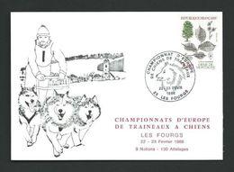 TT 48 - Cachet 23-2-86 Championnat D'Europe De Chiens De Traineaux - 25 Les Fourgs - Timbres
