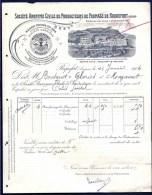 """FACTURE OU LETTRE ANCIENNE DE ROQUEFORT- 1904- PRODUCTION ROQUEFORT """"LE BELIER""""- BELLE ILLUSTRATION- 2 SCANS- - Alimentaire"""