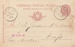 Barile. 1898. Annullo Grande Cerchio BARILE, Su Cartolina Postale Con Testo - 1878-00 Umberto I