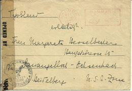 1947  Censured Letter From Aalborg To Heidelberg  Postmarks Luftvaernskontor & Nørresundby - Marcophilie - EMA (Empreintes Machines)