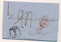 Lettre Rothschild Prag Cachet D'entrée Rouge Autriche, Arrivée Paris Poste Restante - Tchécoslovaquie