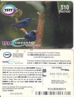 TRINIDAD & TOBAGO - Birds(matt Surface), TSTT Prepaid Card $10, Used - Trinidad & Tobago