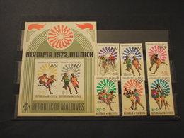 MALDIVES  1972 OLIMPIADI 6 VALORI + BF - NUOVI(++) - Maldive (1965-...)
