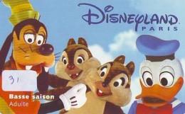 Carte Disney - Disneyland Paris Parc Disney's (31) CHIP'N DALES * DONALD DUCK *Passeport Euro Disneyland PASSE-PARTOUT - Disney