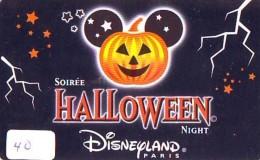 Carte Disney - Disneyland Paris Parc Disney's (40) HALLOWEEN * Passeport Euro Disneyland PASSE-PARTOUT - Disney
