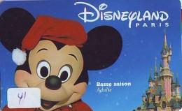 Carte Disney - Disneyland Paris Parc Disney's (41) MICKEY MOUSE * Passeport Euro Disneyland PASSE-PARTOUT - Disney