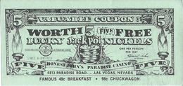 Vintage Honest John's Casino Las Vegas - Paper Coupon For 5 Free Lucky Jackpot Nickels (10.5 X 5mm) - Advertising