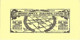 Vintage Honest John's Casino Las Vegas - Paper Coupon For 5 Free Lucky Jackpot Nickels (13.5 X 7mm) - Reclame