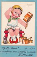 CPA Publicitaire MIROR Fillette Casserole Miroir FROTINETTE Publicité Illustrateur Béatrice MALLET (2 Scans) - Mallet, B.