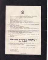 VICHY Madame Francis MIGNOT Née VARENNE Décédée Nice Enterrée Vichy 56 Ans 1934 - Décès