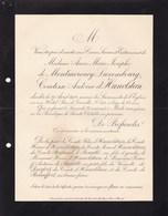 PARIS Anne De MONTMORENCY-LUXEMBOURG Comtesse D'HOLSTEIN 61 Ans 1900 Faire-part Lettre Mortuaire - Décès