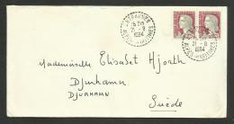 ALPES MARITIMES / Recette Distribution ENTRAUNES / Enveloppe Marianne De Decaris Pour La SUEDE 1964 - Cachets Manuels