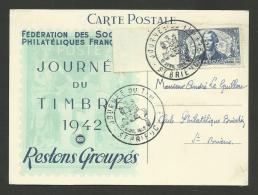 ST BRIEUC /  Journée Du Timbre 1942 - Restons Groupés / Surtaxé LA PEROUSE - Covers & Documents