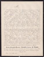 PARIS TOURNAI Jeanne-françoise BERSOLLE Baronne De RASSE 53 Ans 1870 époux Député Bourgmestre De WYELS - Décès