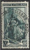 Timbro Tondo PALERMO CORR. PACCHI 4-6-53 - 65 Lire Italia Al Lavoro - 6. 1946-.. República