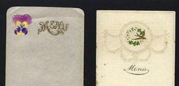 SET Of 2 Original Old MENUS Blank Paper- Embossed Gilded 19th Century - Menú