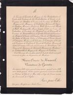 Château De GLOS Par MONTFORT-sur-RISLE Marie-Octavie Du HAUVEL Vicomtesse De GRENTE 78 Ans 1890 De TREBONS D'ESTAMPE - Décès