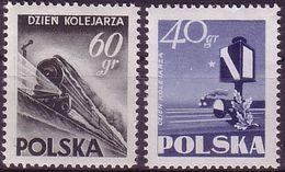 Poland 1954, Mi 868 - 869,  Train, Railwayman's Day, Semaphore, MNH** - Trenes