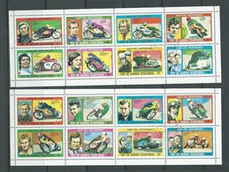 Equatorial Guinea 1976 Motorbike Stars Set Of 16 As 2 Sheets Of 8 FU - Motorbikes