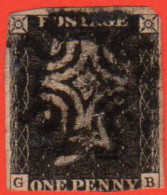 GBR SC #1 U (G,B) P7 1840 Queen Victoria W/black MC W/faults CV $360.00 - Used Stamps
