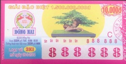 Vietnam Viet Nam Lottery 10,000 10000 Dong Issued In 2014 With Special Number Of 888888 / 2 Photo - Lottery Tickets