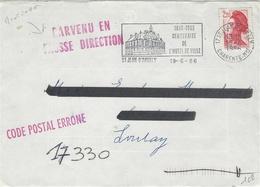 """1986- Env. De ST Jean D'Angely ( Charente Maritime) Pour Loulay """" PARVENU EN /FAUSSE DIRECTION + CODE POSTAL ERRONE """" - 1961-...."""